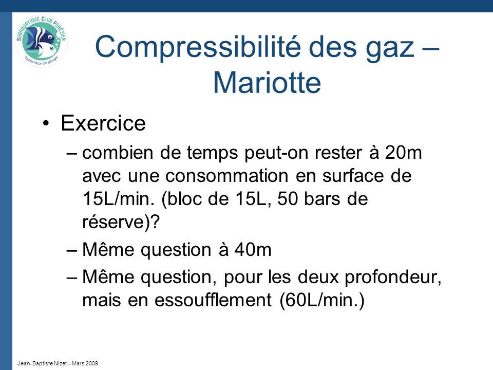 Jean-Baptiste Nizet – Mars 2009 Compressibilité des gaz – Mariotte Exercice –combien de temps peut-on rester à 20m avec une consommation en surface de