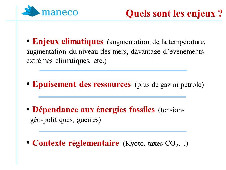 Quels sont les enjeux ? Enjeux climatiques (augmentation de la température, augmentation du niveau des mers, davantage dévénements extrêmes climatique