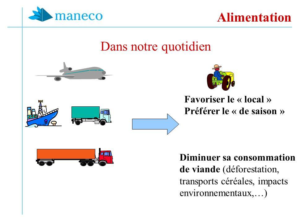 Alimentation Dans notre quotidien Favoriser le « local » Préférer le « de saison » Diminuer sa consommation de viande (déforestation, transports céréales, impacts environnementaux,…)