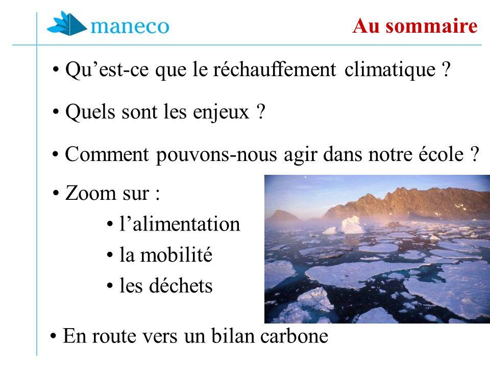 Quest-ce que le réchauffement climatique ? Au sommaire les déchets Zoom sur : Comment pouvons-nous agir dans notre école ? la mobilité Quels sont les