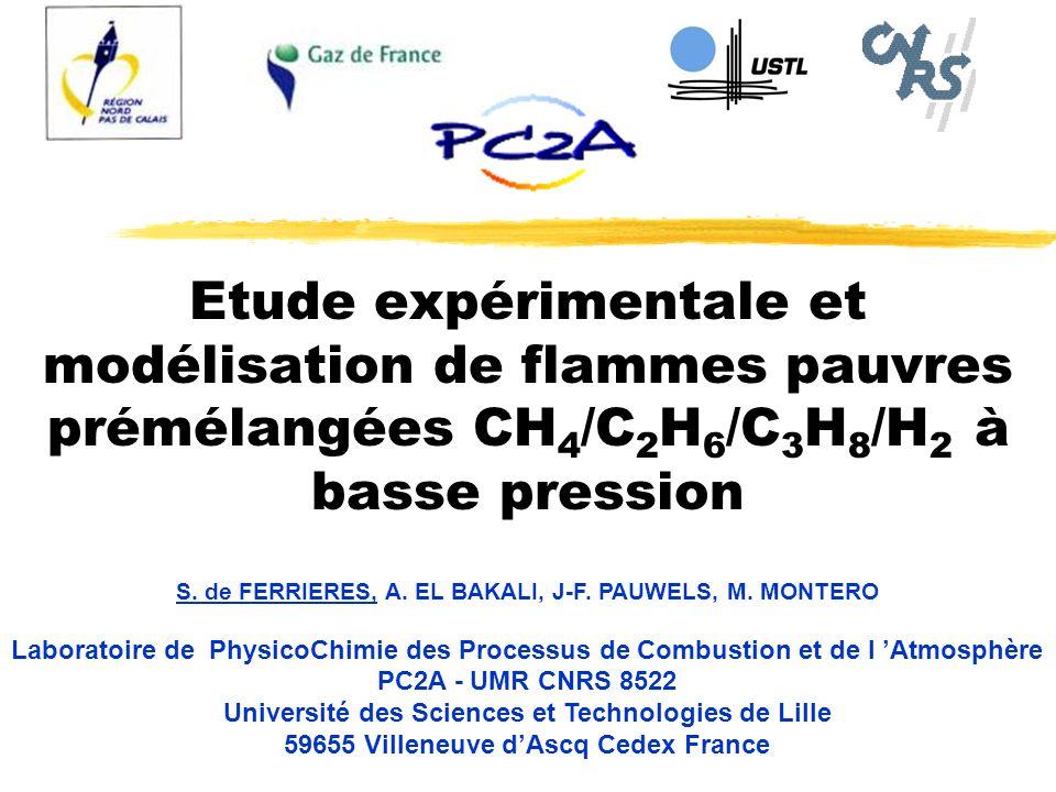 Etude expérimentale et modélisation de flammes pauvres prémélangées CH 4 /C 2 H 6 /C 3 H 8 /H 2 à basse pression S. de FERRIERES, A. EL BAKALI, J-F. P