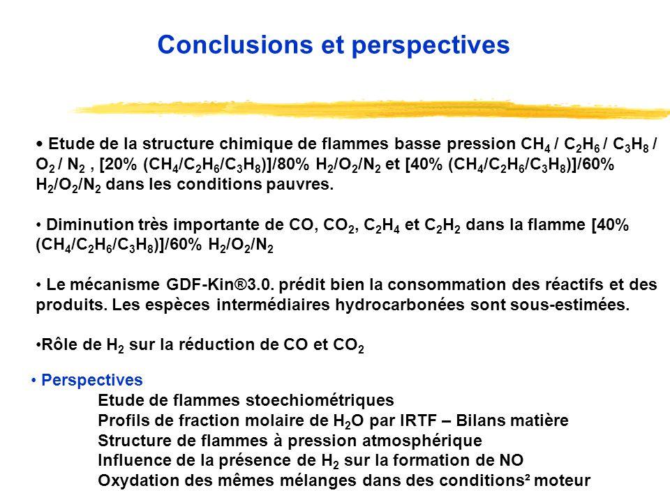 Etude de la structure chimique de flammes basse pression CH 4 / C 2 H 6 / C 3 H 8 / O 2 / N 2, [20% (CH 4 /C 2 H 6 /C 3 H 8 )]/80% H 2 /O 2 /N 2 et [4