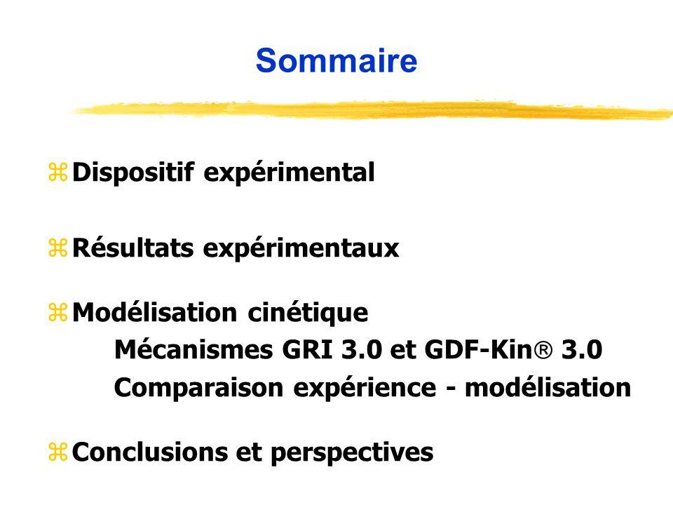 Sommaire zDispositif expérimental zRésultats expérimentaux zModélisation cinétique Mécanismes GRI 3.0 et GDF-Kin 3.0 Comparaison expérience - modélisa