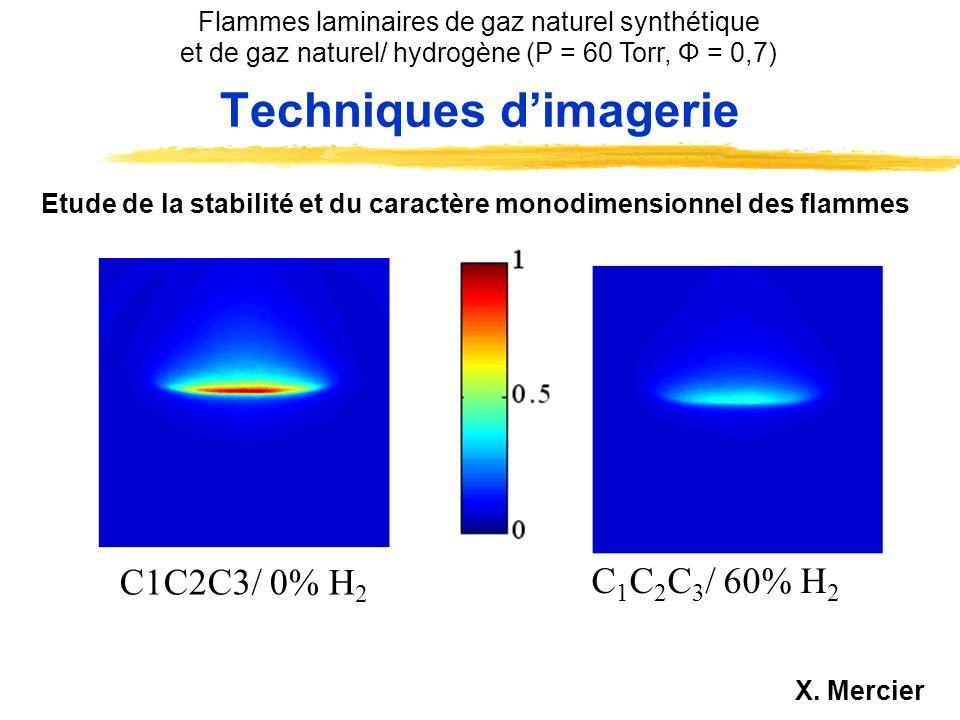 zFlammes diluées avec 72% N 2 zP = 60 Torr - Débit global : 310 L.h -1 zFlammes gaz naturel/air, (80% gaz naturel / 20% hydrogène) / air, (40% gaz naturel / 60% hydrogène) / air Φ= 0,7 Caractéristiques des flammes étudiées