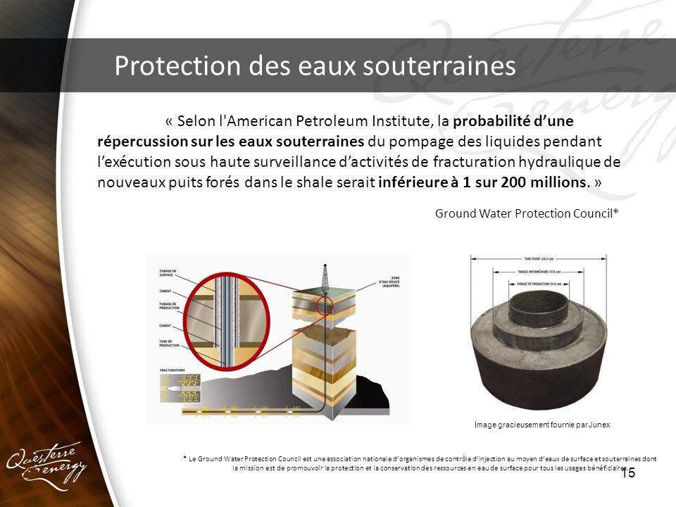 15 Protection des eaux souterraines « Selon l'American Petroleum Institute, la probabilité dune répercussion sur les eaux souterraines du pompage des