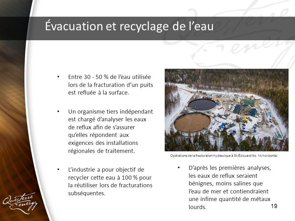 19 Évacuation et recyclage de leau Entre 30 - 50 % de leau utilisée lors de la fracturation dun puits est refluée à la surface. Un organisme tiers ind