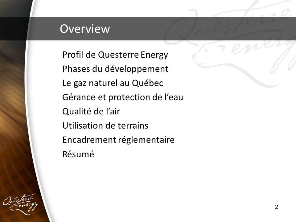 2 Overview Profil de Questerre Energy Phases du développement Le gaz naturel au Québec Gérance et protection de leau Qualité de lair Utilisation de te