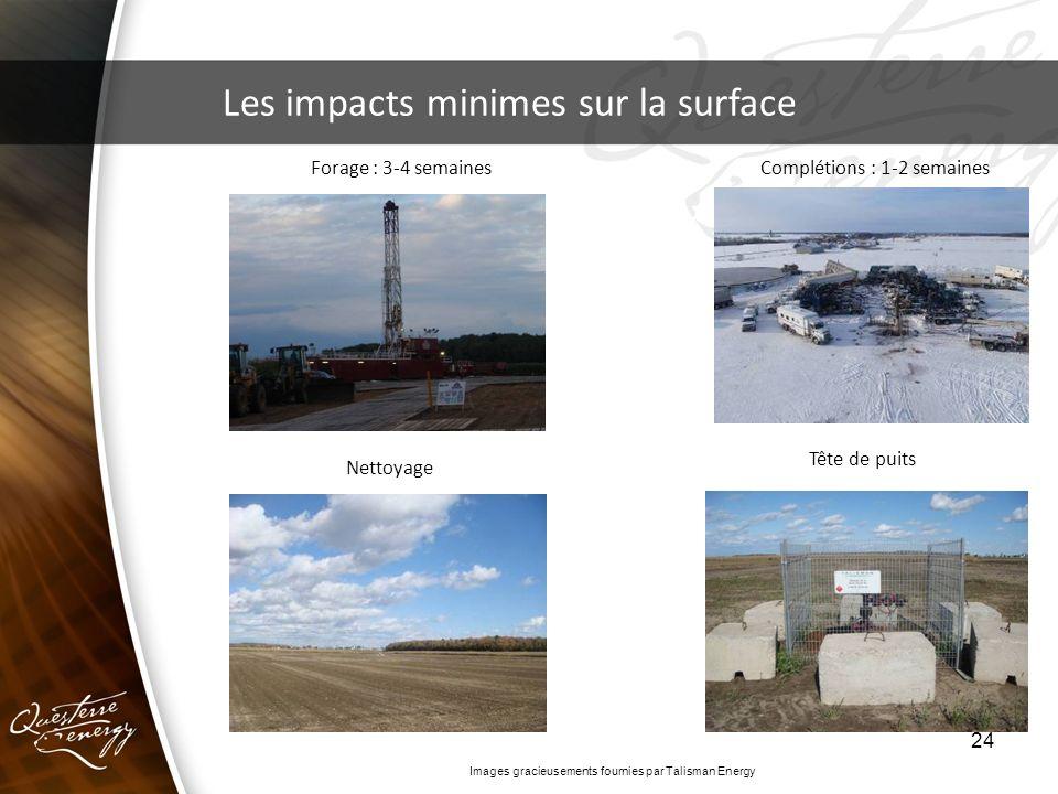 24 Les impacts minimes sur la surface Forage : 3-4 semainesComplétions : 1-2 semaines Nettoyage Tête de puits Images gracieusements fournies par Talis