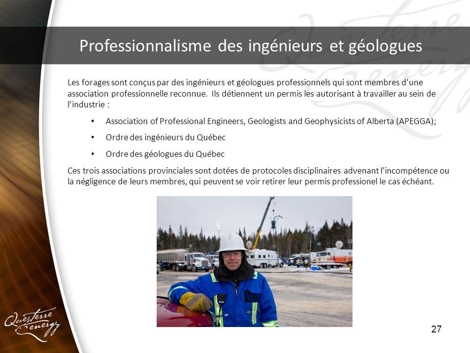 27 Professionnalisme des ingénieurs et géologues Les forages sont conçus par des ingénieurs et géologues professionnels qui sont membres dune associat
