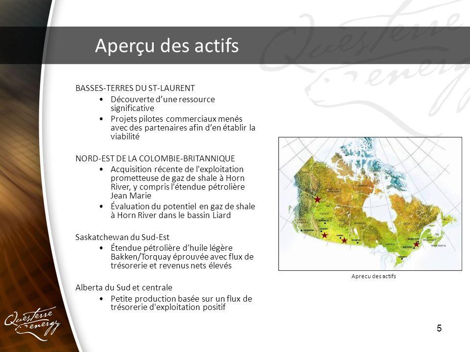 5 Aperçu des actifs Aprecu des actifs BASSES-TERRES DU ST-LAURENT Découverte dune ressource significative Projets pilotes commerciaux menés avec des p