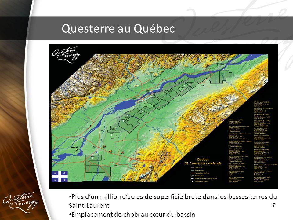 7 Questerre au Québec Plus dun million dacres de superficie brute dans les basses-terres du Saint-Laurent Emplacement de choix au cœur du bassin