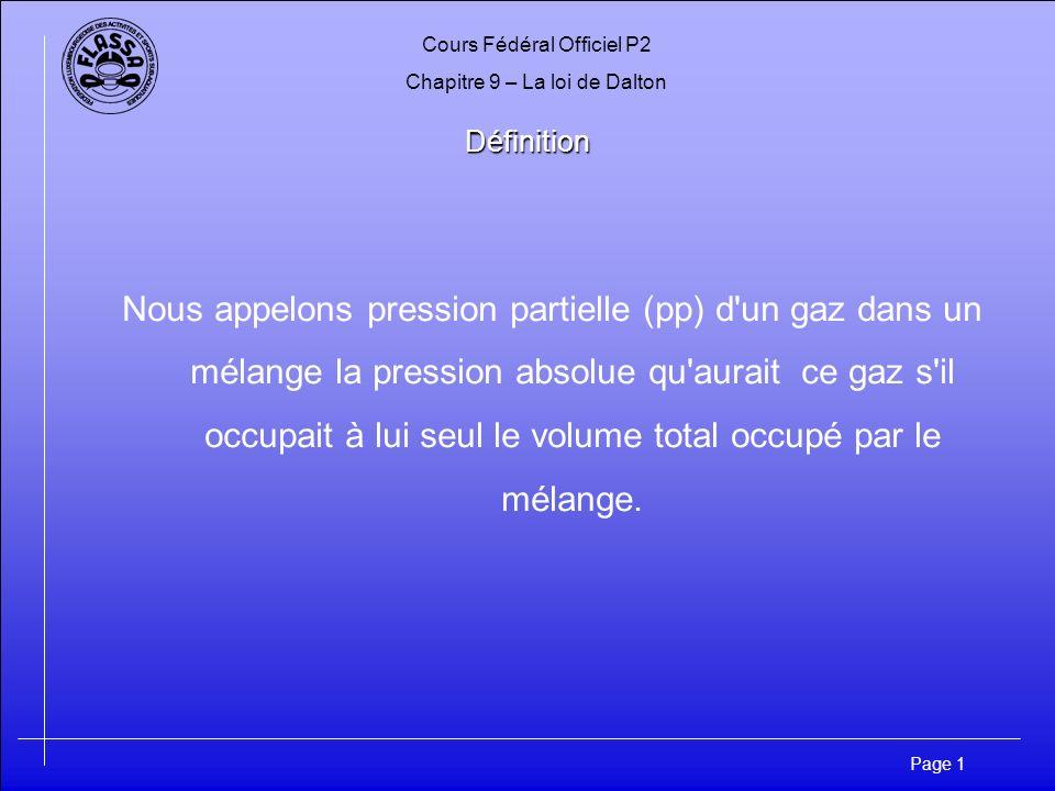 Cours Fédéral Officiel P2 Chapitre 9 – La loi de Dalton Page 12 Application numérique Application numérique L essoufflement par le CO2 se produit au-delà d une pression partielle de 0,030 bar; en plongeant avec un mélange qui se compose de 20% O2, 79%N2 et 1% CO2, à partir de quelle profondeur risque-t-on l essoufflement .