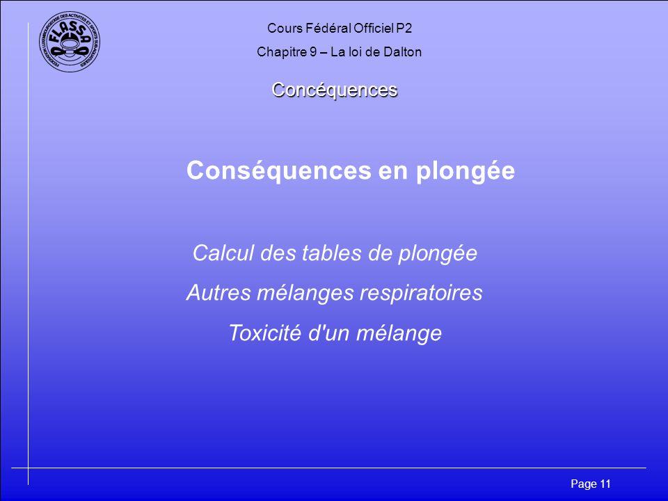 Cours Fédéral Officiel P2 Chapitre 9 – La loi de Dalton Page 11 Concéquences Conséquences en plongée Calcul des tables de plongée Autres mélanges resp