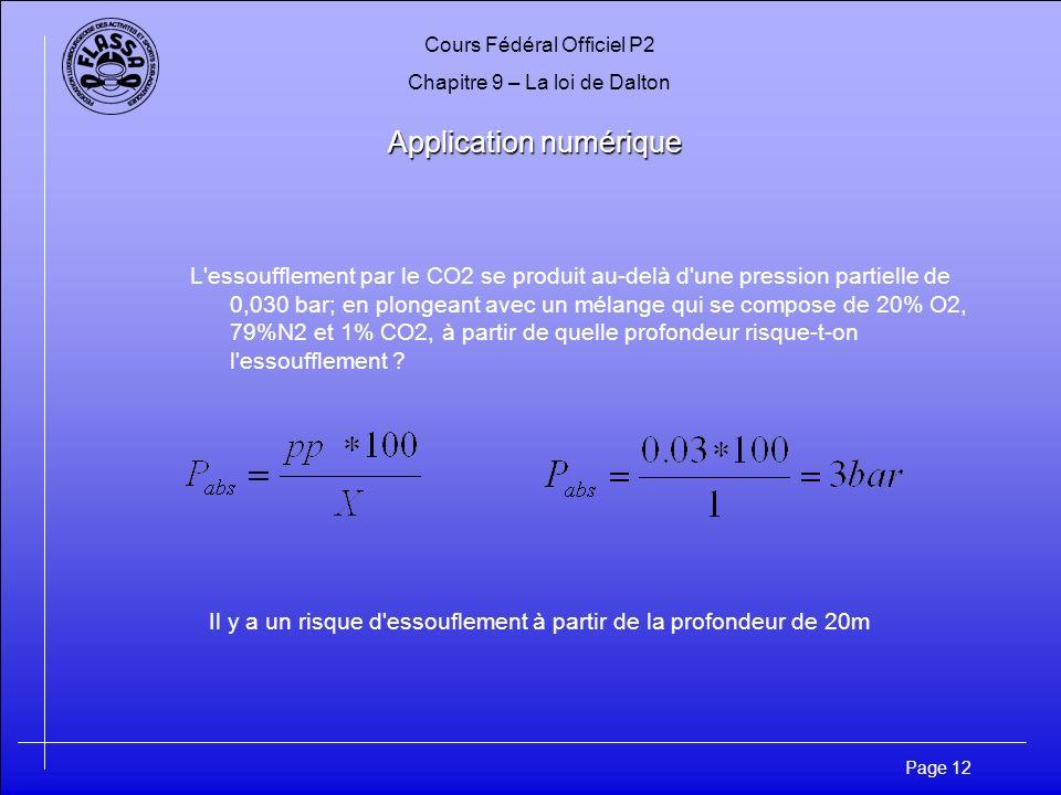 Cours Fédéral Officiel P2 Chapitre 9 – La loi de Dalton Page 12 Application numérique Application numérique L'essoufflement par le CO2 se produit au-d