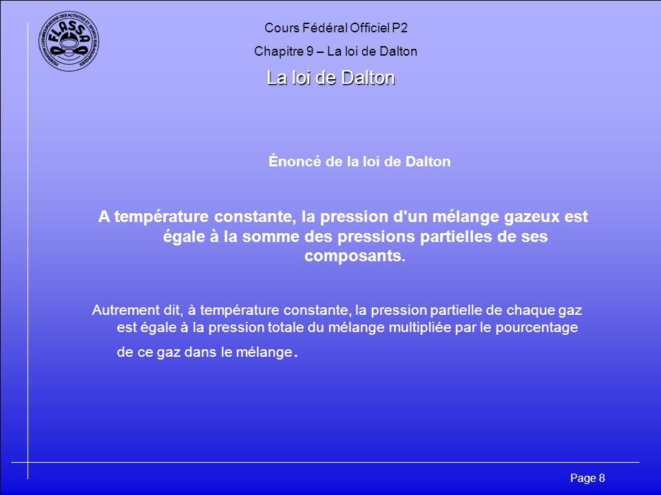 Cours Fédéral Officiel P2 Chapitre 9 – La loi de Dalton Page 8 La loi de Dalton Énoncé de la loi de Dalton A température constante, la pression d'un m