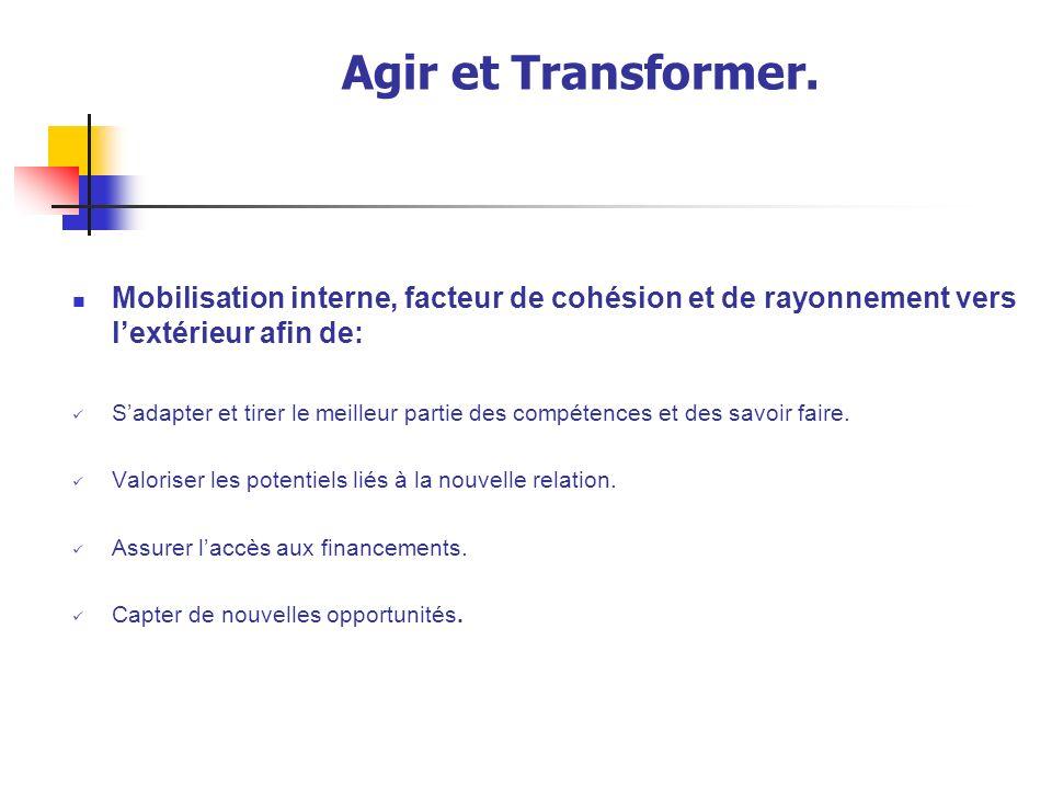Agir et Transformer.Des conditions à réunir rapidement.