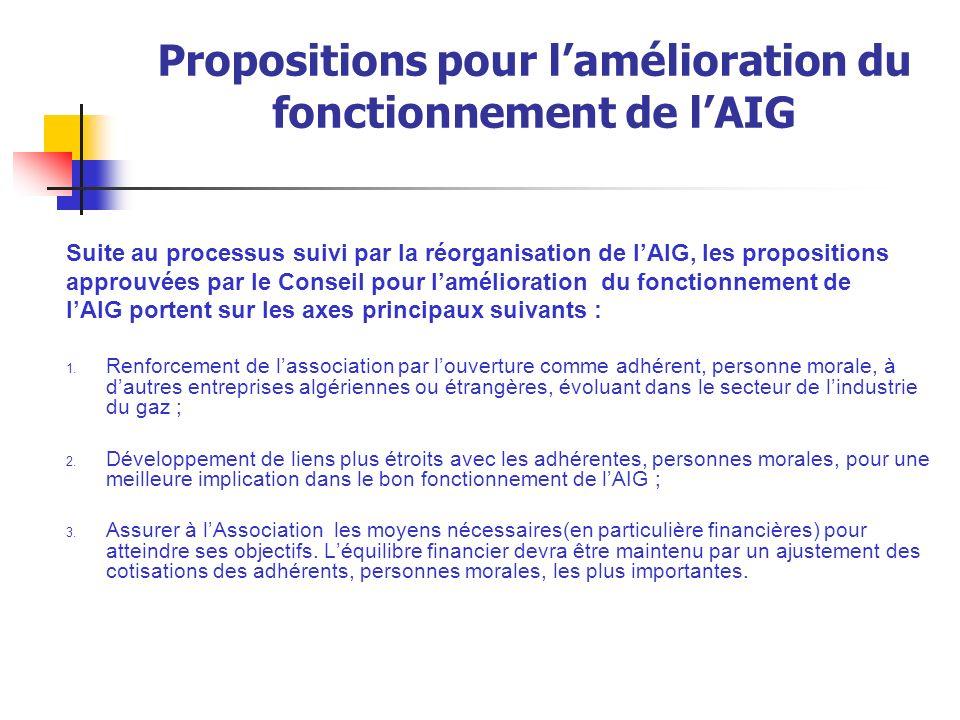 Propositions pour lamélioration du fonctionnement de lAIG Suite au processus suivi par la réorganisation de lAIG, les propositions approuvées par le C