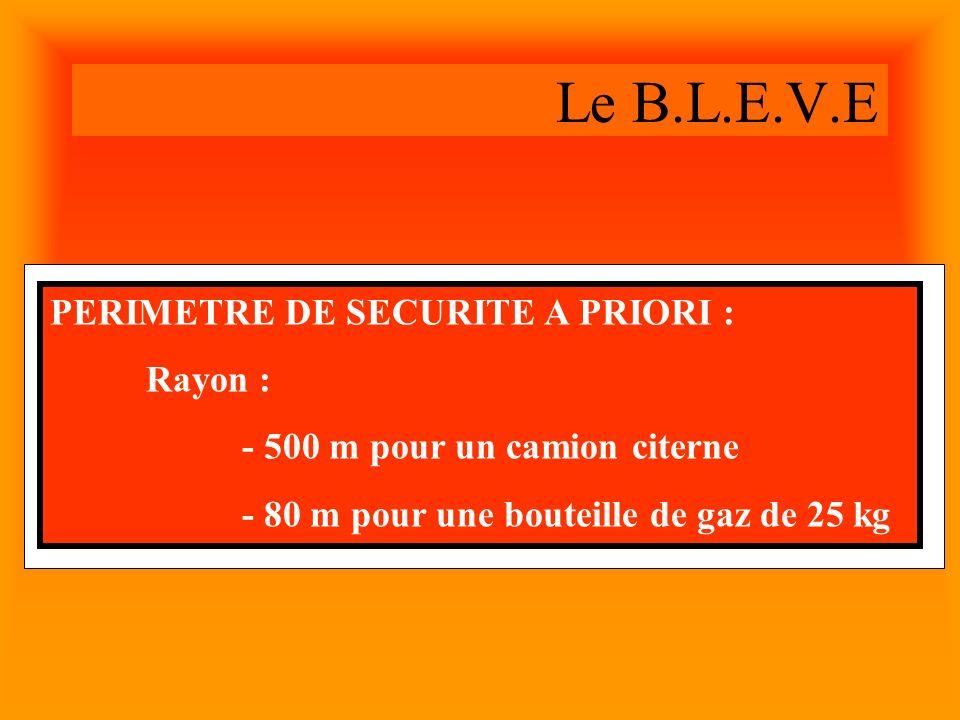Le B.L.E.V.E PERIMETRE DE SECURITE A PRIORI : Rayon : - 500 m pour un camion citerne - 80 m pour une bouteille de gaz de 25 kg