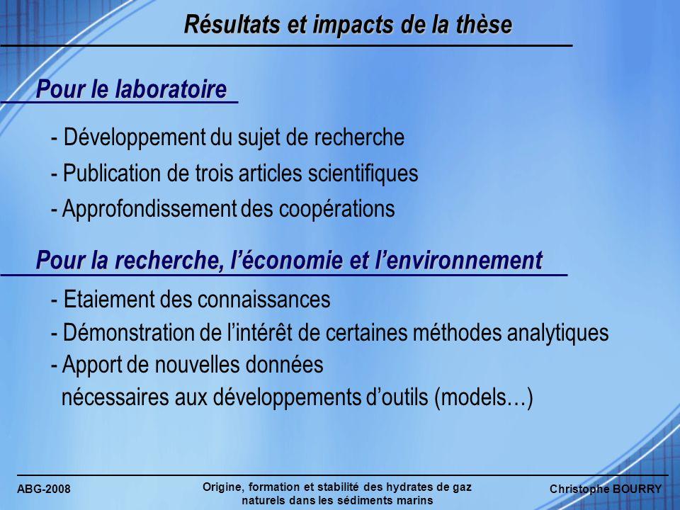 ABG-2008 Origine, formation et stabilité des hydrates de gaz naturels dans les sédiments marins Christophe BOURRY Résultats et impacts de la thèse Pou
