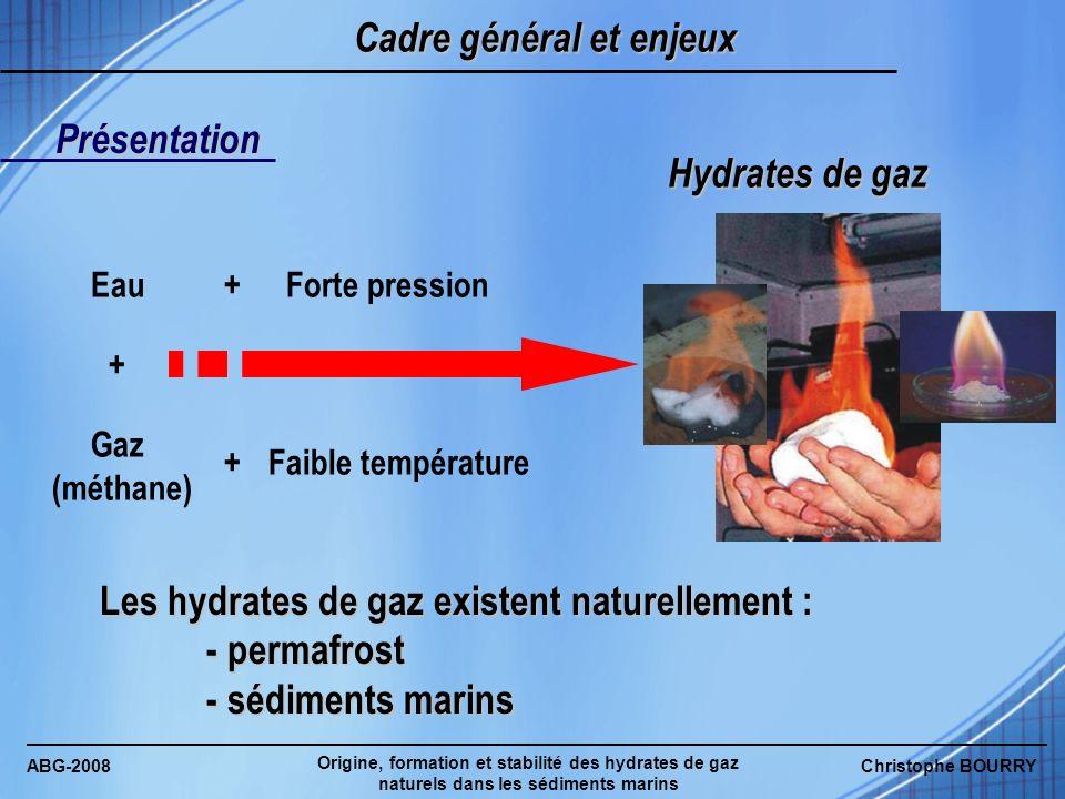 ABG-2008 Origine, formation et stabilité des hydrates de gaz naturels dans les sédiments marins Christophe BOURRY Cadre général et enjeux Eau Gaz (mét