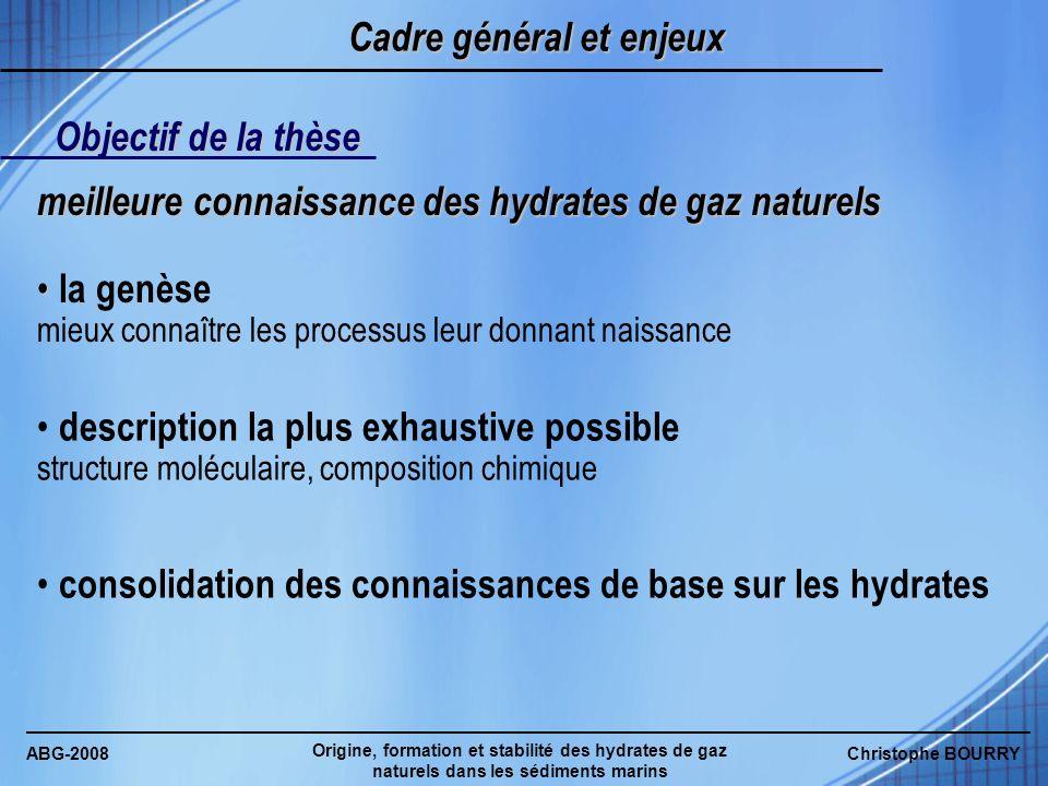 ABG-2008 Origine, formation et stabilité des hydrates de gaz naturels dans les sédiments marins Christophe BOURRY Cadre général et enjeux Objectif de