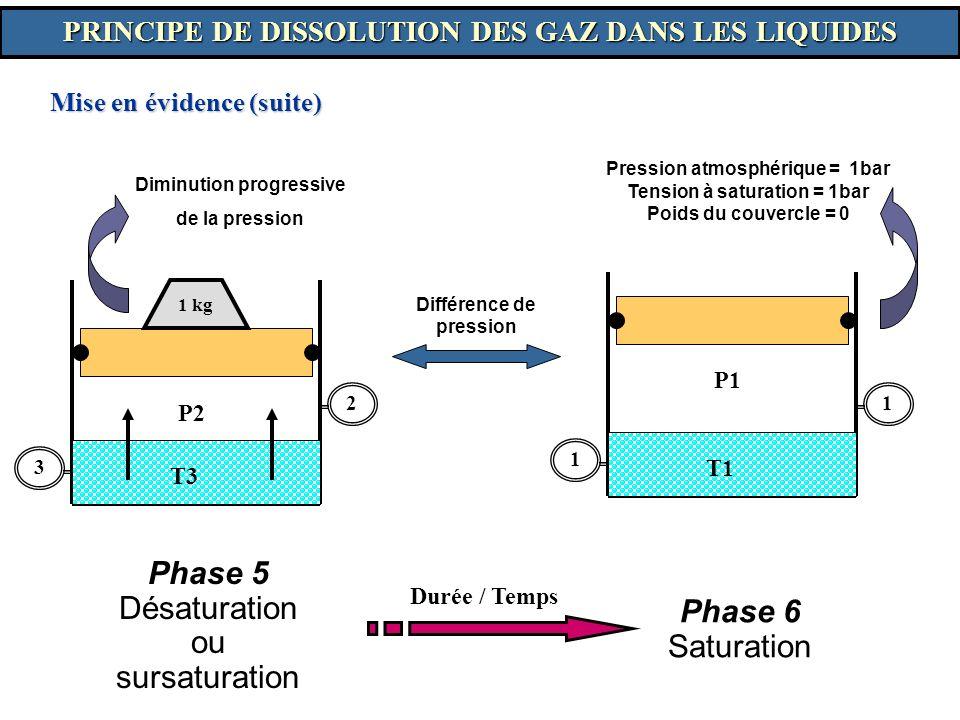 Mise en évidence (suite) Différence de pression Diminution progressive de la pression 3 2 P2 T3 1 kg Phase 5 Désaturation ou sursaturation Phase 6 Sat