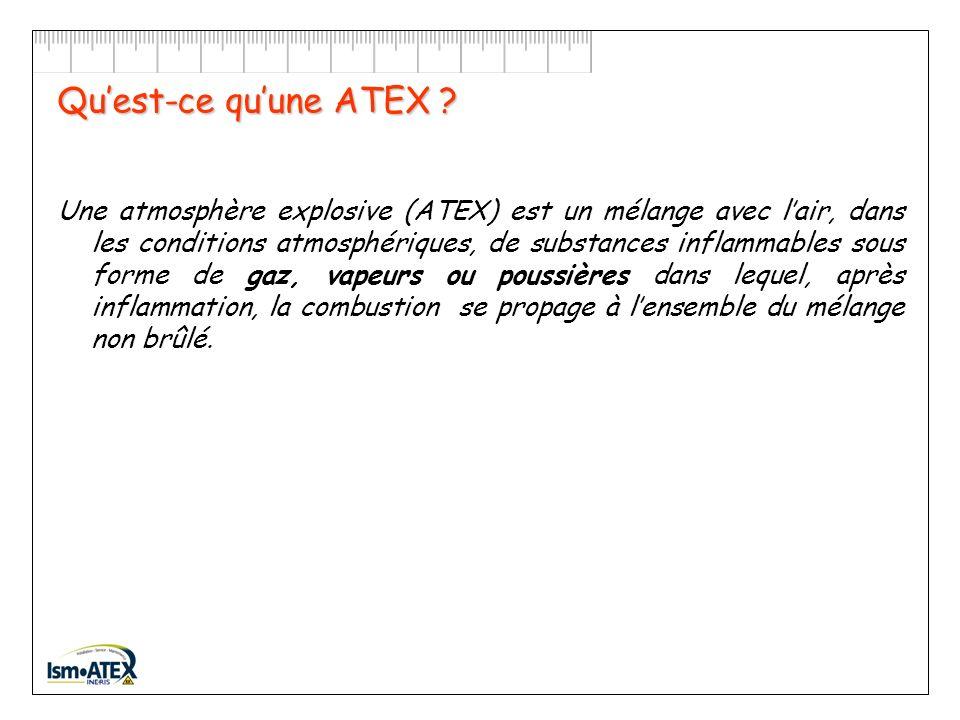Quest-ce quune ATEX ? Quand peut-on être en présence dune ATEX ? Comment une ATEX peut-elle exploser ? Quelles sont les substances inflammables les pl