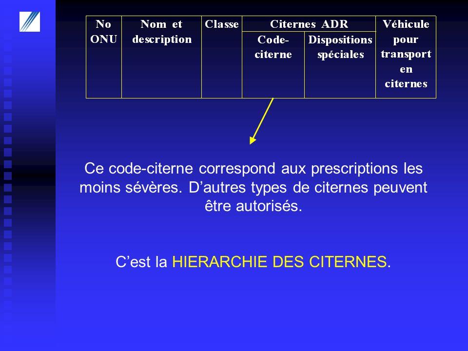 Ce code-citerne correspond aux prescriptions les moins sévères. Dautres types de citernes peuvent être autorisés. Cest la HIERARCHIE DES CITERNES.