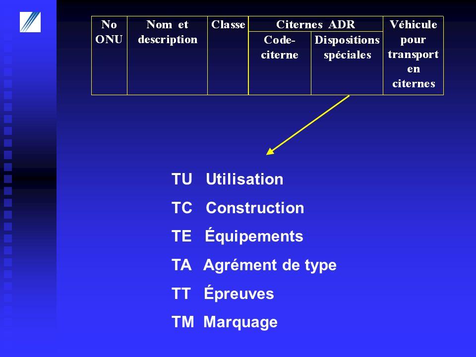 TU Utilisation TC Construction TE Équipements TA Agrément de type TT Épreuves TM Marquage