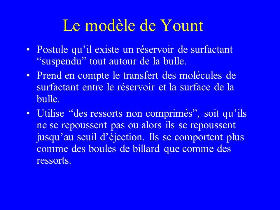 Le modèle de Yount Postule quil existe un réservoir de surfactant suspendu tout autour de la bulle. Prend en compte le transfert des molécules de surf