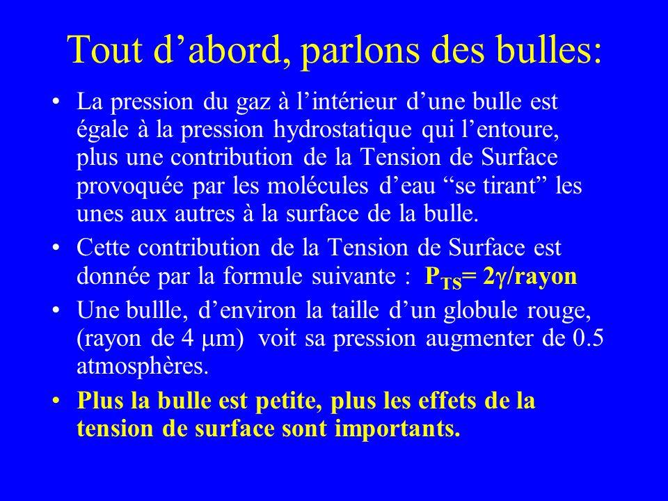 Tout dabord, parlons des bulles: La pression du gaz à lintérieur dune bulle est égale à la pression hydrostatique qui lentoure, plus une contribution