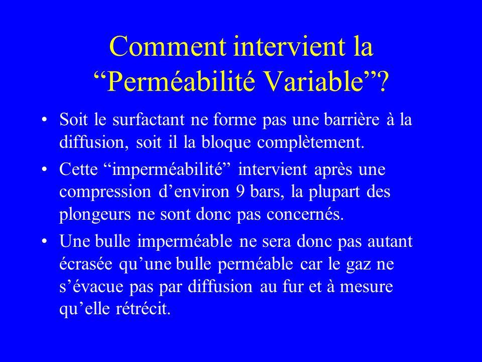 Comment intervient la Perméabilité Variable? Soit le surfactant ne forme pas une barrière à la diffusion, soit il la bloque complètement. Cette imperm