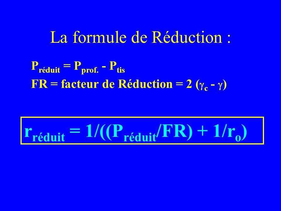 La formule de Réduction : P réduit = P prof. - P tis FR = facteur de Réduction = 2 ( c - ) r réduit = 1/((P réduit /FR) + 1/r o )