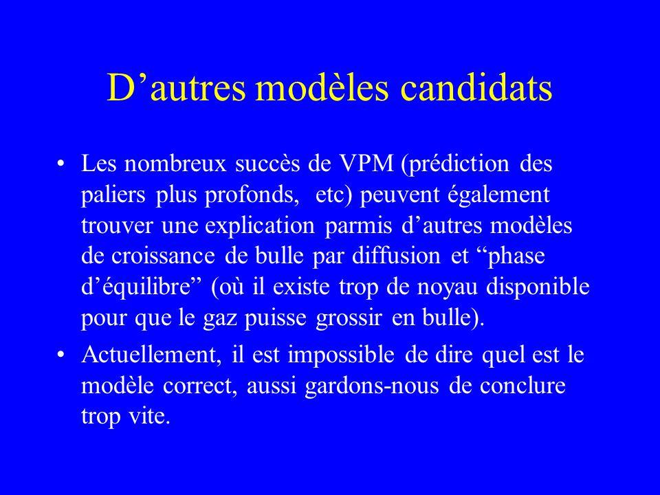 Dautres modèles candidats Les nombreux succès de VPM (prédiction des paliers plus profonds, etc) peuvent également trouver une explication parmis daut