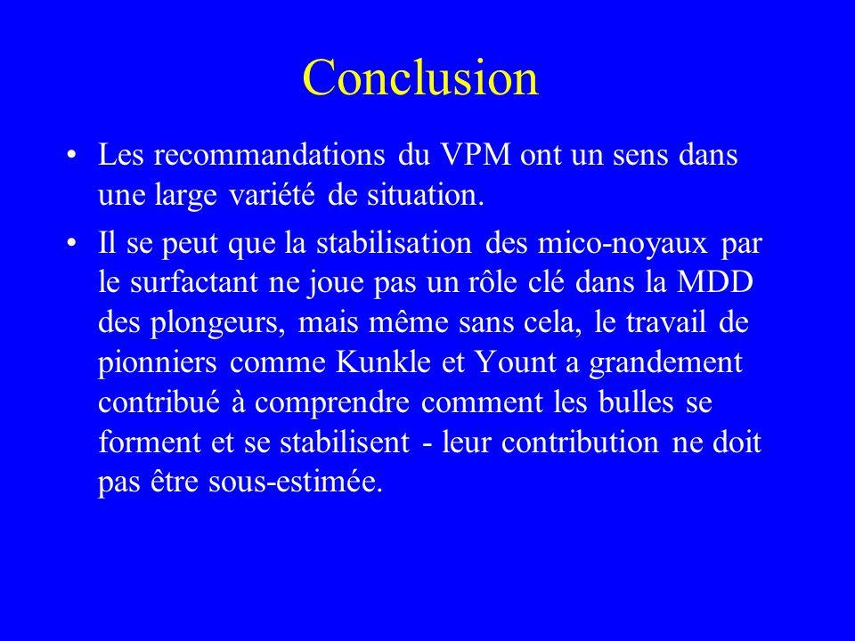 Conclusion Les recommandations du VPM ont un sens dans une large variété de situation. Il se peut que la stabilisation des mico-noyaux par le surfacta