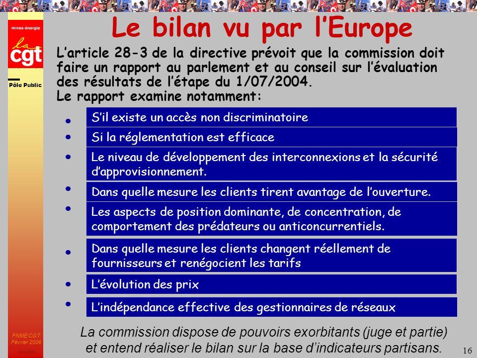 Pôle Public JMK 2003 FNME CGT Février 2006 16 Le bilan vu par lEurope Larticle 28-3 de la directive prévoit que la commission doit faire un rapport au parlement et au conseil sur lévaluation des résultats de létape du 1/07/2004.