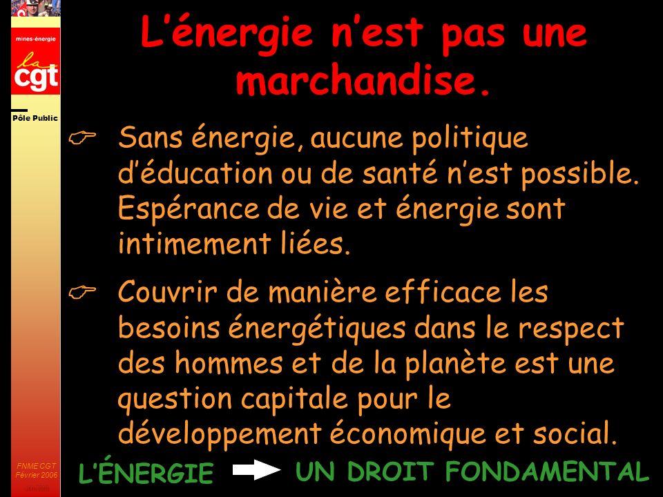 Pôle Public JMK 2003 FNME CGT Février 2006 3 La libéralisation du secteur de lénergie: coup de projecteur historique LEurope: moyen de pression longtemps privilégié.