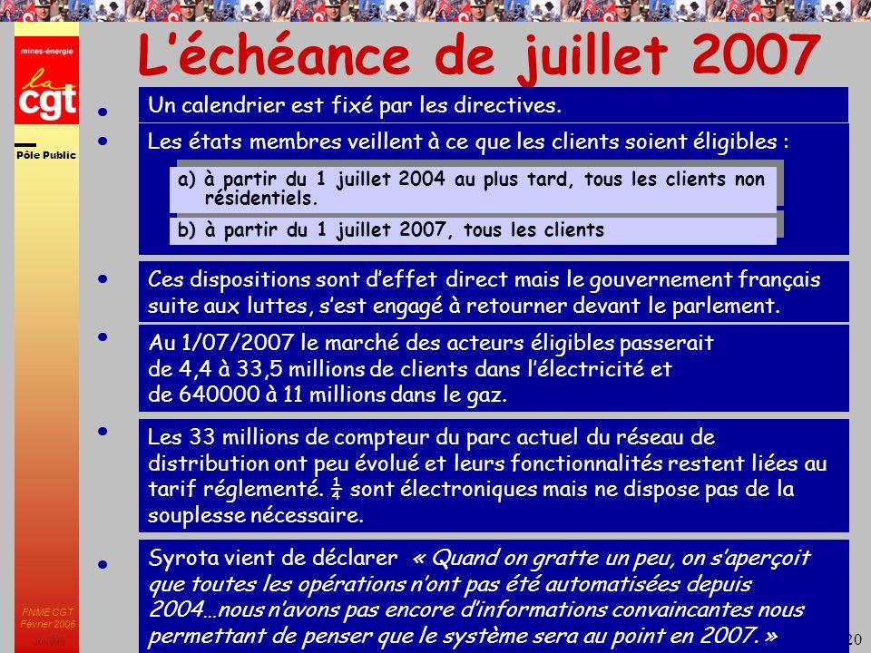 Pôle Public JMK 2003 FNME CGT Février 2006 20 Léchéance de juillet 2007 Un calendrier est fixé par les directives.