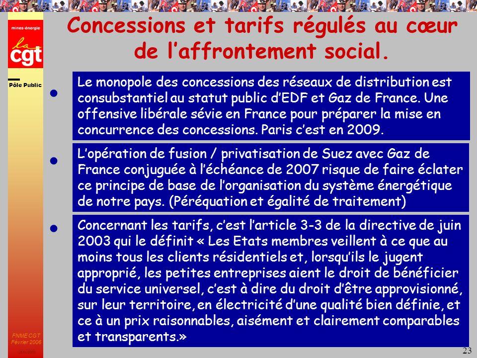 Pôle Public JMK 2003 FNME CGT Février 2006 23 Concessions et tarifs régulés au cœur de laffrontement social.