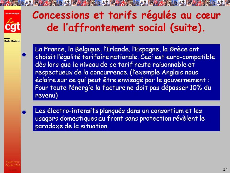 Pôle Public JMK 2003 FNME CGT Février 2006 24 Concessions et tarifs régulés au cœur de laffrontement social (suite).