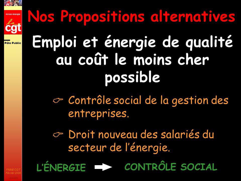 Pôle Public JMK 2003 FNME CGT Février 2006 25 Nos Propositions alternatives Emploi et énergie de qualité au coût le moins cher possible Contrôle social de la gestion des entreprises.