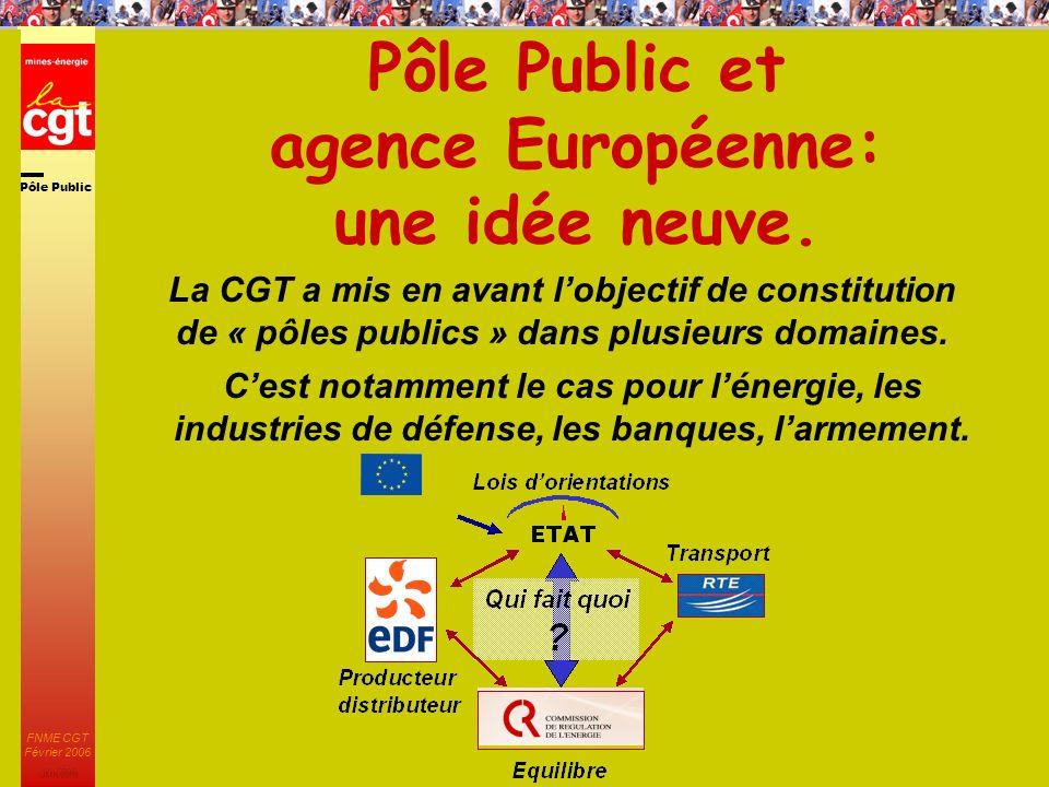 Pôle Public JMK 2003 FNME CGT Février 2006 27 Pôle Public et agence Européenne: une idée neuve.