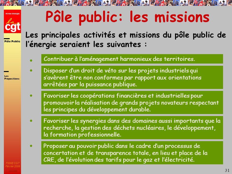 Pôle Public JMK 2003 FNME CGT Février 2006 31 Pôle public: les missions Les principales activités et missions du pôle public de lénergie seraient les suivantes : Contribuer à laménagement harmonieux des territoires.