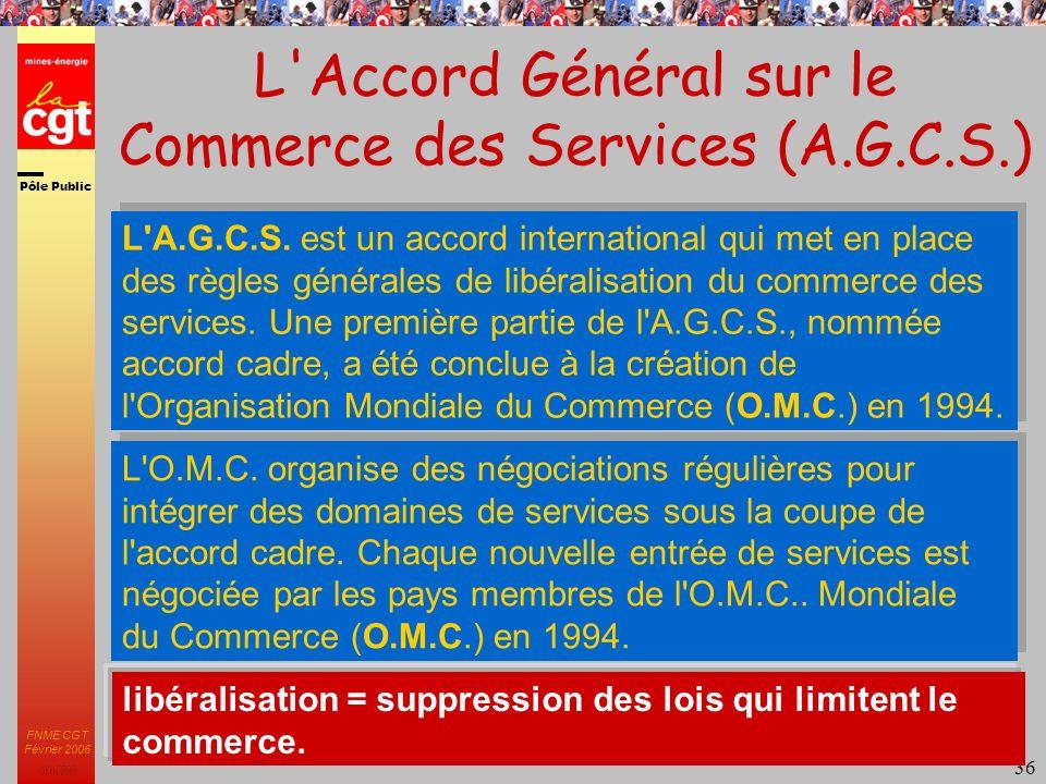 Pôle Public JMK 2003 FNME CGT Février 2006 36 L Accord Général sur le Commerce des Services (A.G.C.S.) libéralisation = suppression des lois qui limitent le commerce.