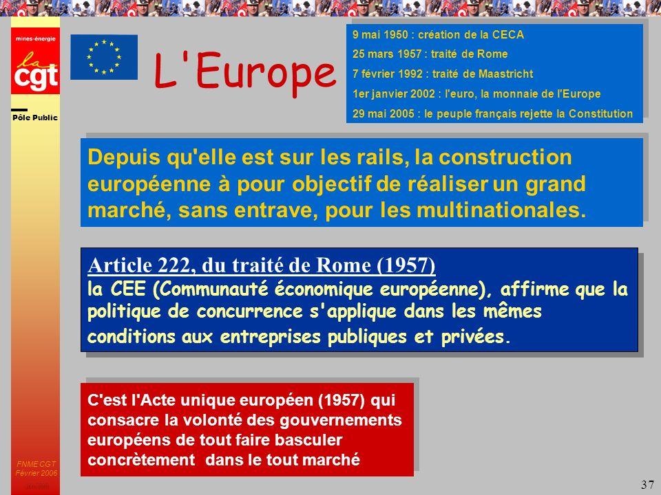 Pôle Public JMK 2003 FNME CGT Février 2006 37 L Europe 9 mai 1950 : création de la CECA 25 mars 1957 : traité de Rome 7 février 1992 : traité de Maastricht 1er janvier 2002 : l euro, la monnaie de l Europe 29 mai 2005 : le peuple français rejette la Constitution 9 mai 1950 : création de la CECA 25 mars 1957 : traité de Rome 7 février 1992 : traité de Maastricht 1er janvier 2002 : l euro, la monnaie de l Europe 29 mai 2005 : le peuple français rejette la Constitution Article 222, du traité de Rome (1957) la CEE (Communauté économique européenne), affirme que la politique de concurrence s applique dans les mêmes conditions aux entreprises publiques et privées.