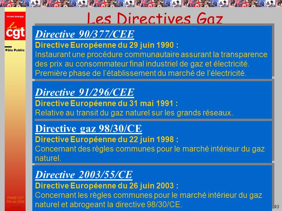 Pôle Public JMK 2003 FNME CGT Février 2006 40 Les Directives Gaz Directive 90/377/CEE Directive Européenne du 29 juin 1990 : Instaurant une procédure communautaire assurant la transparence des prix au consommateur final industriel de gaz et électricité.