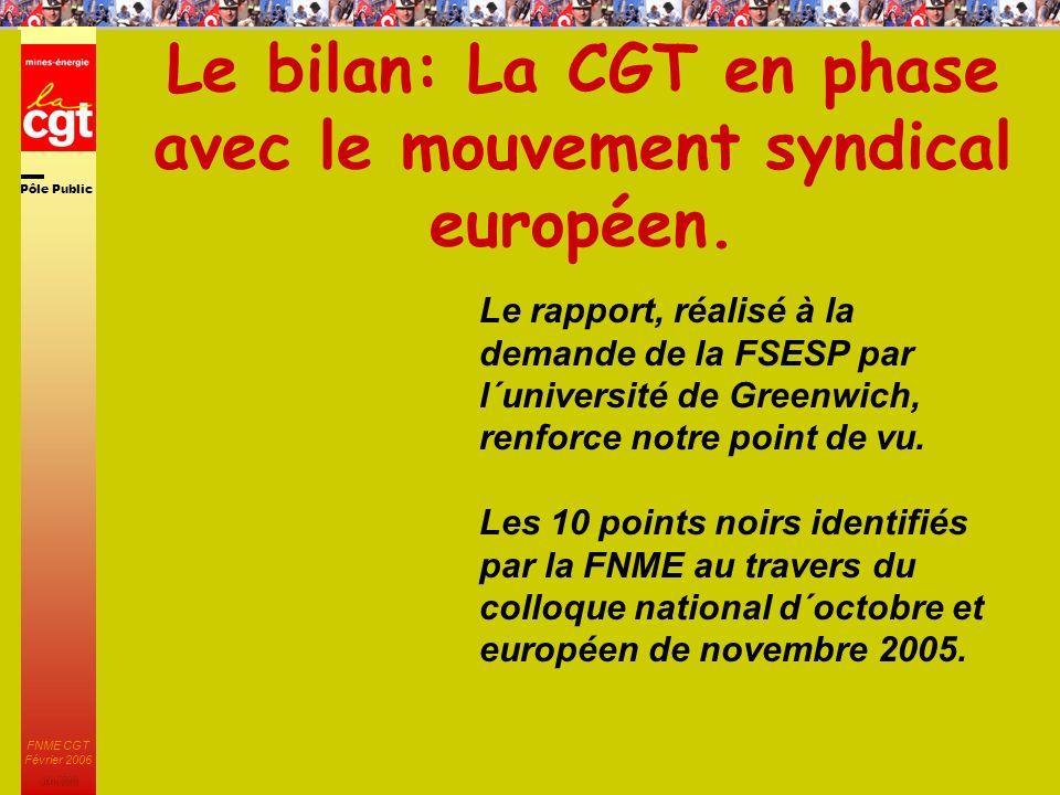 Pôle Public JMK 2003 FNME CGT Février 2006 8 Le bilan: La CGT en phase avec le mouvement syndical européen.