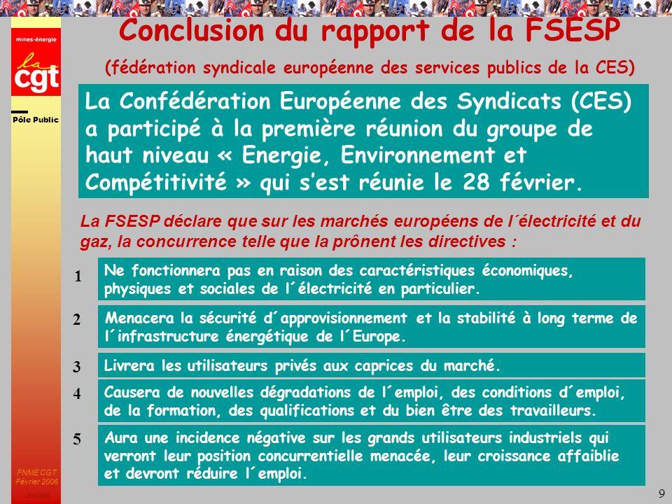 Pôle Public JMK 2003 FNME CGT Février 2006 9 Conclusion du rapport de la FSESP (fédération syndicale européenne des services publics de la CES) Ne fonctionnera pas en raison des caractéristiques économiques, physiques et sociales de l´électricité en particulier.