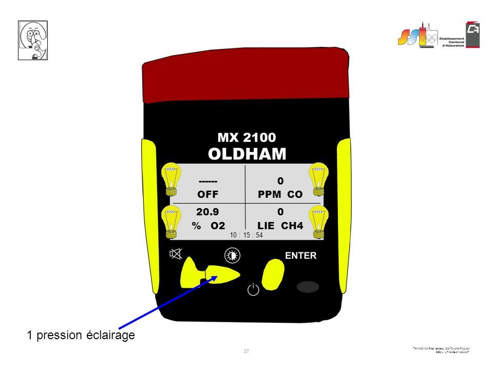 36 TH-MX2100-Pres tableau CO-TL-chb-fi-02.ppt ©ECA LT-CHB-31.05.2007 OFFPPM CO % O2LIE CH4 ------0 20.90 10 : 15 : 54