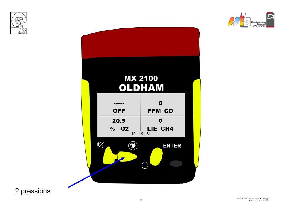 37 TH-MX2100-Pres tableau CO-TL-chb-fi-02.ppt ©ECA LT-CHB-31.05.2007 OFFPPM CO % O2LIE CH4 ------0 20.90 10 : 15 : 54 1 pression éclairage